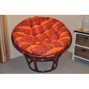 Ratanový papasan 110 cm mahagon, polstr oranžová kostka