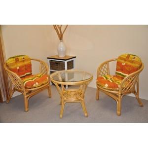 Ratanová sedací souprava Bahama malá medová polstry žlutý motiv
