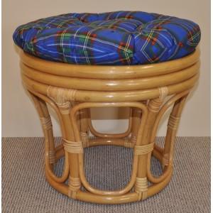Ratanová taburetka velká medová polstr modrý