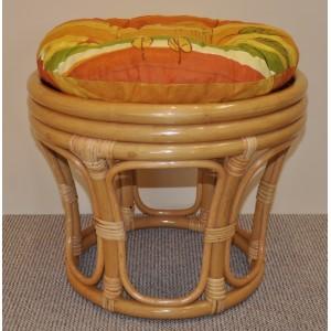 Ratanová taburetka velká medová polstr žlutý motiv