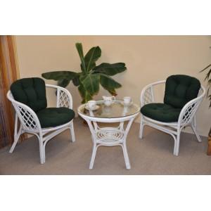 Ratanová sedací souprava Bahama bílá 2+1, polstry zelený dralon