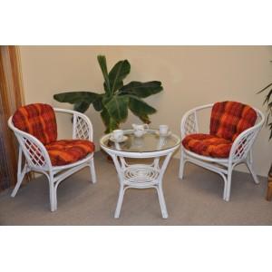 Ratanová sedací souprava Bahama bílá 2+1, polstry oranžová kostka