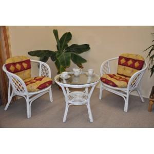 Ratanová sedací souprava Bahama bílá 2+1, polstry vínový motiv