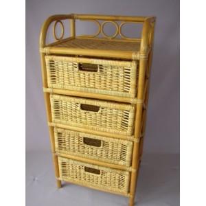 Ratanová komoda 4 zásuvky ratan  medová