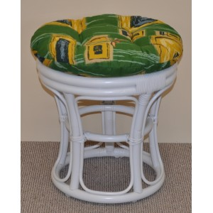 Ratanová taburetka úzká bílá polstr zelený