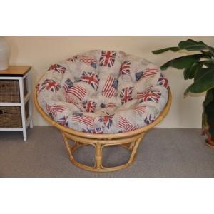 Ratanový papasan 110 cm medový polstr motiv vlajky