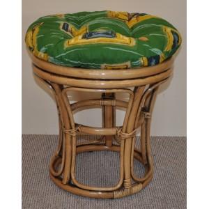 Ratanová taburetka brown wash polstr zelený