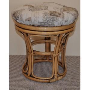 Ratanová taburetka brown wash polstr motiv známky