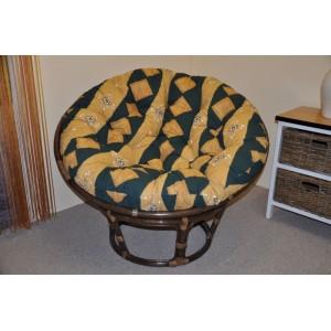 Ratanový papasan 110 cm hnědý polstr zelený motiv