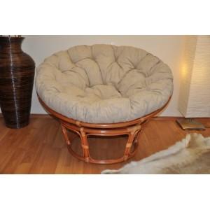 Ratanový papasan 115 cm koňak - polstr béžový melír