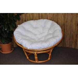 Ratanový papasan 110 cm  medový bílý polstr
