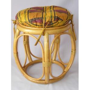 Ratanová taburetka široká medová polstr okrový