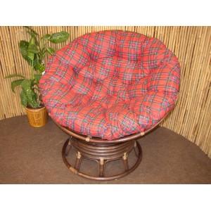 Ratanový papasan houpací hnědý polstr červený