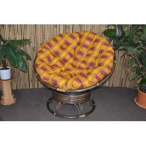 Ratanový papasan houpací hnědý polstr okrový
