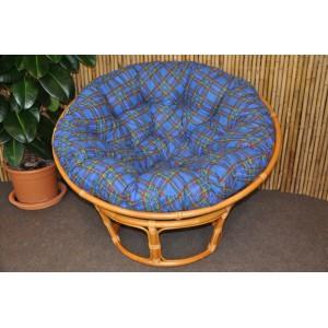 Polstr na křeslo papasan 100 cm modrá kostka
