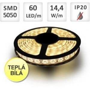 LED pásek 60ks 5050/m 14.4W/m, TEPLÁ, cena za 1m