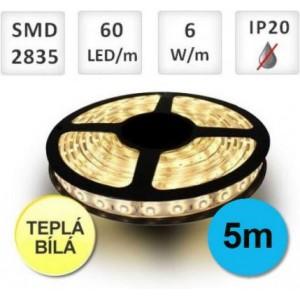 LED pásek 5M 60ks 2835 6W/m TEPLÁ