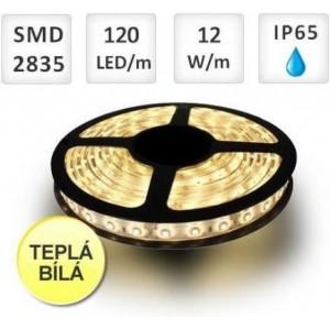 LED pásek 120ks 2835 12W/m TEPLÁ, voděodolný, cena za 1m