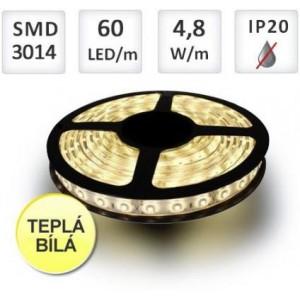 LED pásek 5m 60ks/m 3014 4.8W/m teplá bílá