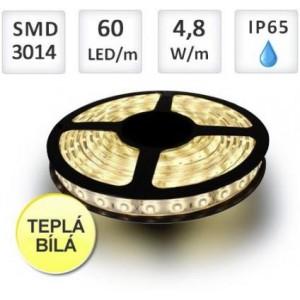 LED pásek 5m 60ks/m 3014 4.8W/m voděodolný teplá bílá