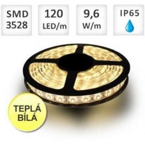 LED pásek 5m 120ks/m 3528 9.6W/m voděodolný-silikon TEPLÁ