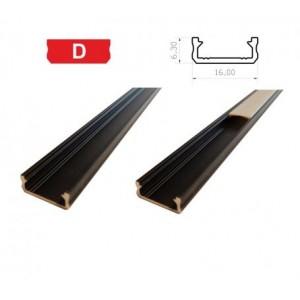 Hliníkový profil LUMINES D 2m pro LED pásky, černý