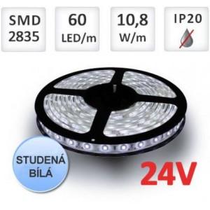 LED pásek 5m 24V 60ks 2835 12W/m STUDENÁ BÍLÁ