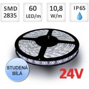 LED pásek 24V 5m 60ks 2835 10,8W/m silikon STUDENÁ BÍLÁ