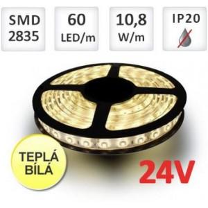LED pásek 5m 24V 60ks 2835 12W/m TEPLÁ BÍLÁ