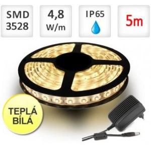 SADA LED pásek 5m 4,8W 60x3528/m voděodolný TEPLÁ + Zdroj