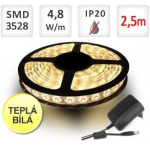 SADA LED pásek 2,5m 9,6W 120x3528/m voděodolný TEPLÁ + Zdroj