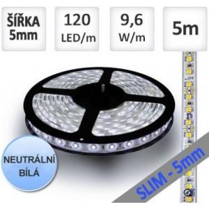 LED pásek 5m 120ks/m 3528 9.6W/m ULTRA SLIM, bílý podklad, NEUTRÁLNÍ