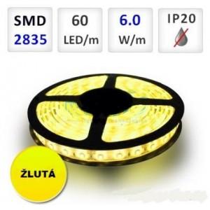 LED pásek ŽLUTÝ 1m 60xSMD2835 6W/m