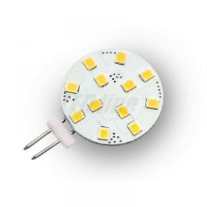 LED žárovka 2,2W 12x2835 G4 205lm CCD TEPLÁ BÍLÁ 12V DC
