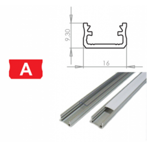 Hliníkový profil LUMINES A 3m pro LED pásky, stříbrný eloxovaný