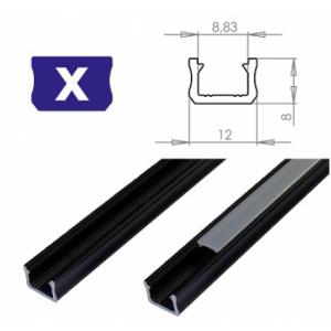 Hliníkový profil LUMINES X 1m pro LED pásky, černý