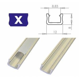 Hliníkový profil LUMINES X 1m pro LED pásky, stříbrný