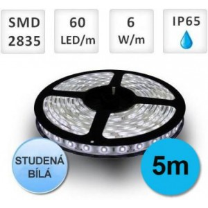 LED pásek 5M 60ks 2835 6W/m STUDENÁ, voděodolný
