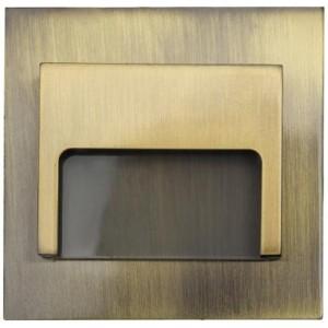 LED nástěnné schodišťové svítidlo ONTARIO mosaz 1,5W 9xSMD3014 12V DC studená bílá