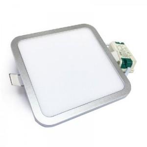 LED panel vestavný SLIM 12W 1100lm 145x145mm 230V stříbrný, STUDENÁ BÍLÁ