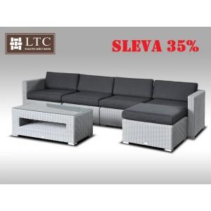 Luxusní rohová sedací souprava ALLEGRA IX šedá 4-5 osob, kulatý ratan