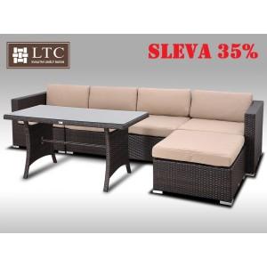 Luxusní jídelní a sedací souprava ALLEGRA IX 2v1 hnědá 4-5 osob, světle hnědý polstr