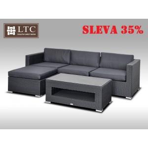Luxusní rohová sedací souprava ALLEGRA VII černá 3-4 osoby