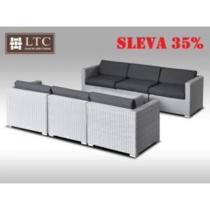 Umělý ratan - luxusní sedací souprava ALLEGRA VI šedá 6 osob, kulatý ratan