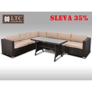 Luxusní jídelní a sedací souprava ALLEGRA XIV 2v1 hnědá 5 osob, světle hnědý polstr