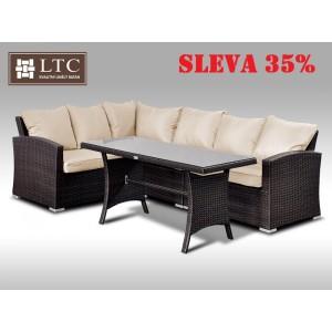 Luxusní sedací a jídelní souprava  PAOLA IV 2v1 hnědá 4 osoby, světle hnědý polstr