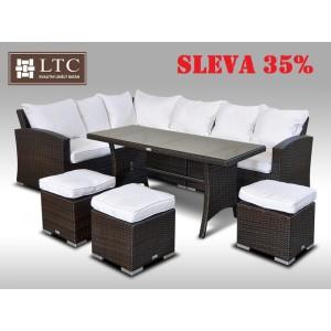 Luxusní sedací a jídelní souprava  PAOLA II 2v1 hnědá 4-7 osob