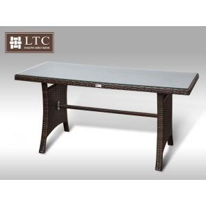 Jídelní stůl z umělého ratanu Paola 140x60 hnědý