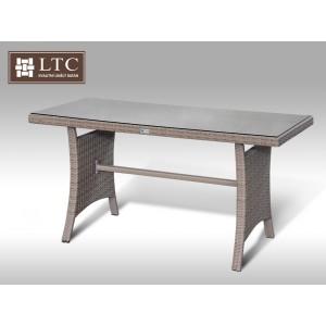 Jídelní stůl z umělého ratanu Paola 140x60 šedobéžový