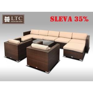 Luxusní rohová sedací souprava ALLEGRA XII hnědá 7-9 osob, světle hnědý polstr